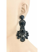 """3.5"""" L  Black Rhinestones Large Statement Evening Earrings  Drag Queen Goth Chic - $20.52"""