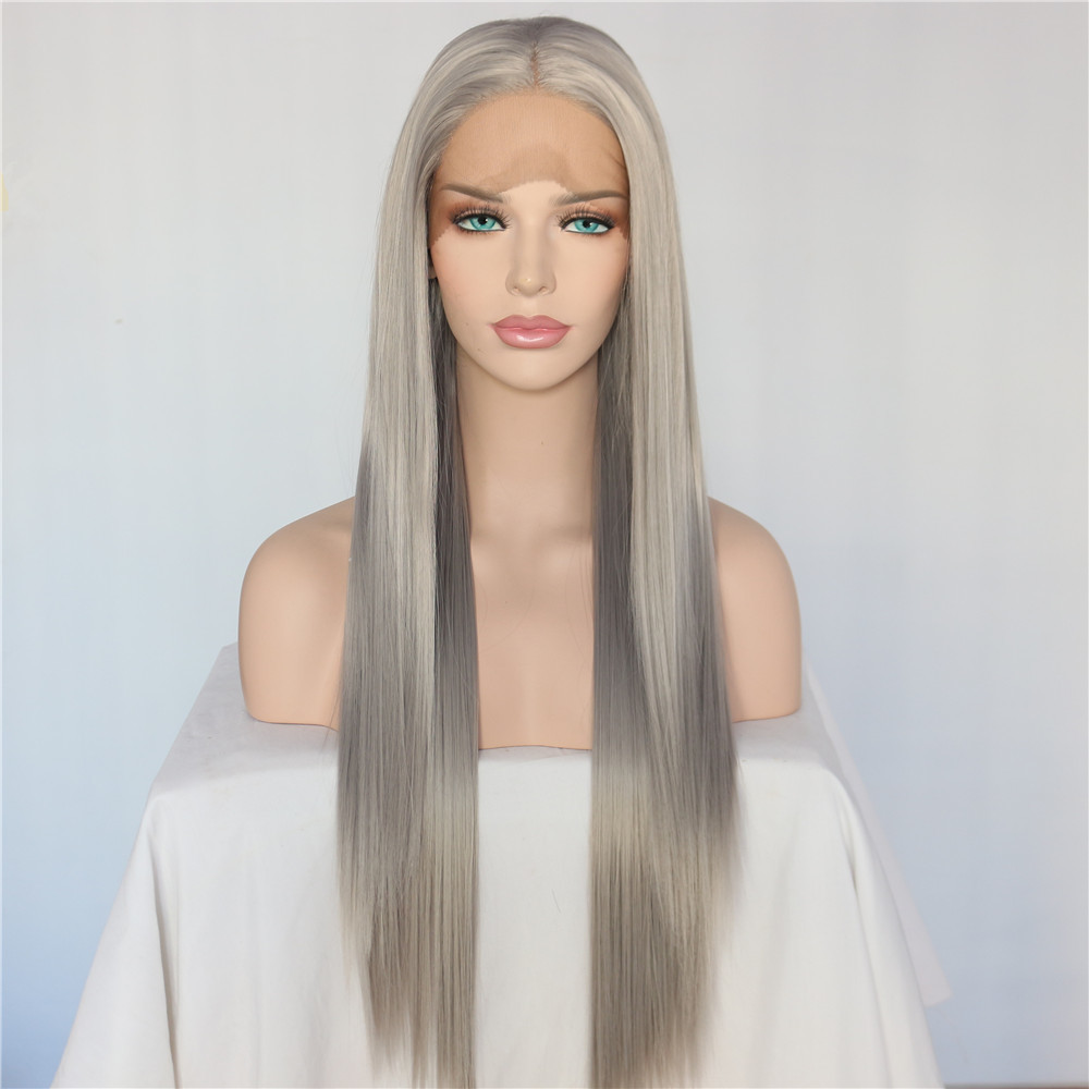 BeautyTown Silver Grey Color Heat Resistant Hair Straight ...