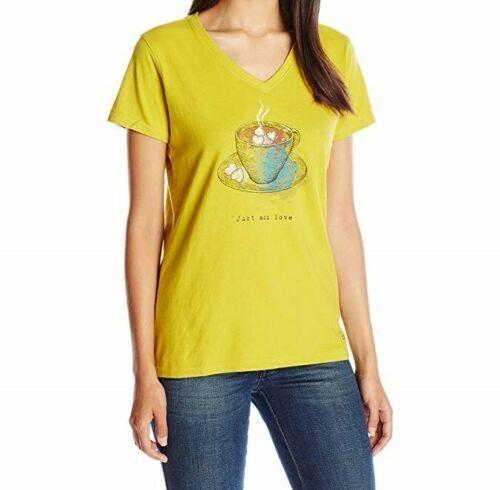 XL 16-18 Life is Good Women's Add Love Cocoa Crusher V-Neck Tee T-Shirt Shirt