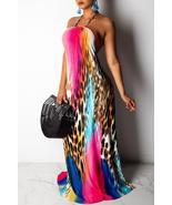 Sexy Halter Neck Printed Floor Length Dress - $31.32