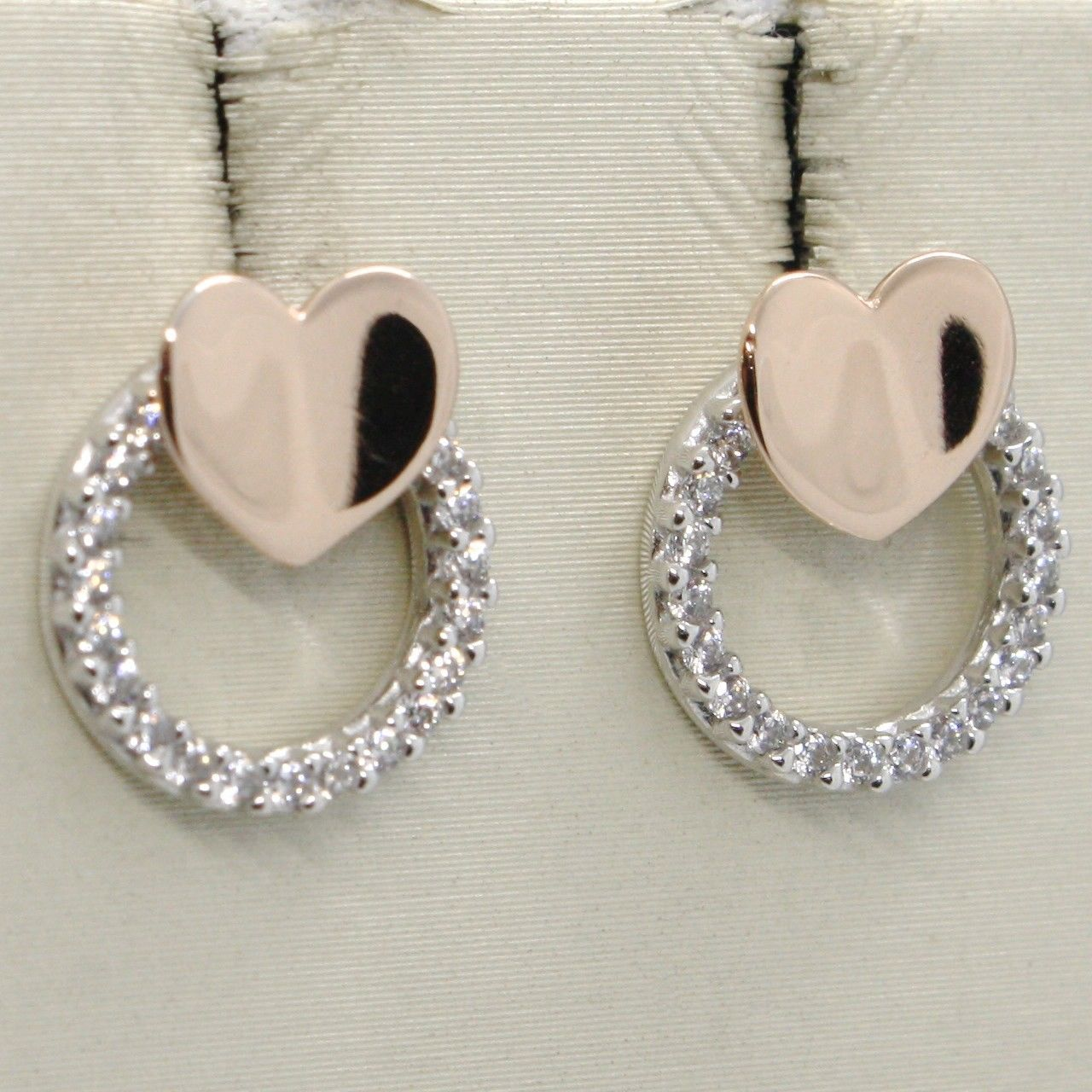 18K WHITE & ROSE GOLD HEART AND CIRCLE EARRINGS, WHITE ZIRCONIA, MADE IN ITALY