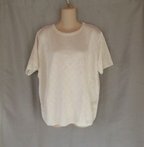 Alfred Dunner sweater pullover XL white argyle pattern short sleeves - $13.67