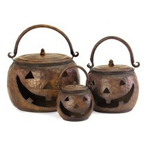Halloween Decoration Lidded Pumpkins Set Metal Decor Home Accessories 3p... - $126.99
