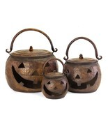 Halloween Decoration Lidded Pumpkins Set Metal Decor Home Accessories 3p... - £94.10 GBP