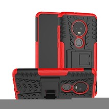 Tire Texture TPU+PC Shockproof Case for Motorola G7, with Holder (Red) - $4.77
