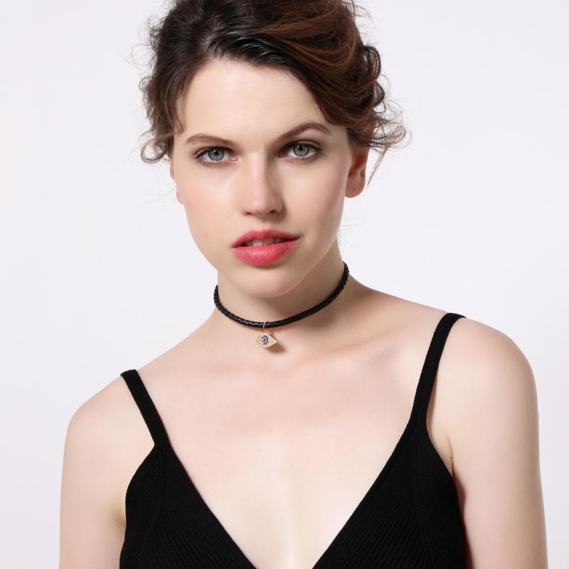 0c 2018 new black leather velvet alloy eye pendant choker necklace for women wholesale jewelry 2