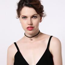 Ew black leather velvet alloy eye pendant choker necklace for women wholesale jewelry 2 thumb200