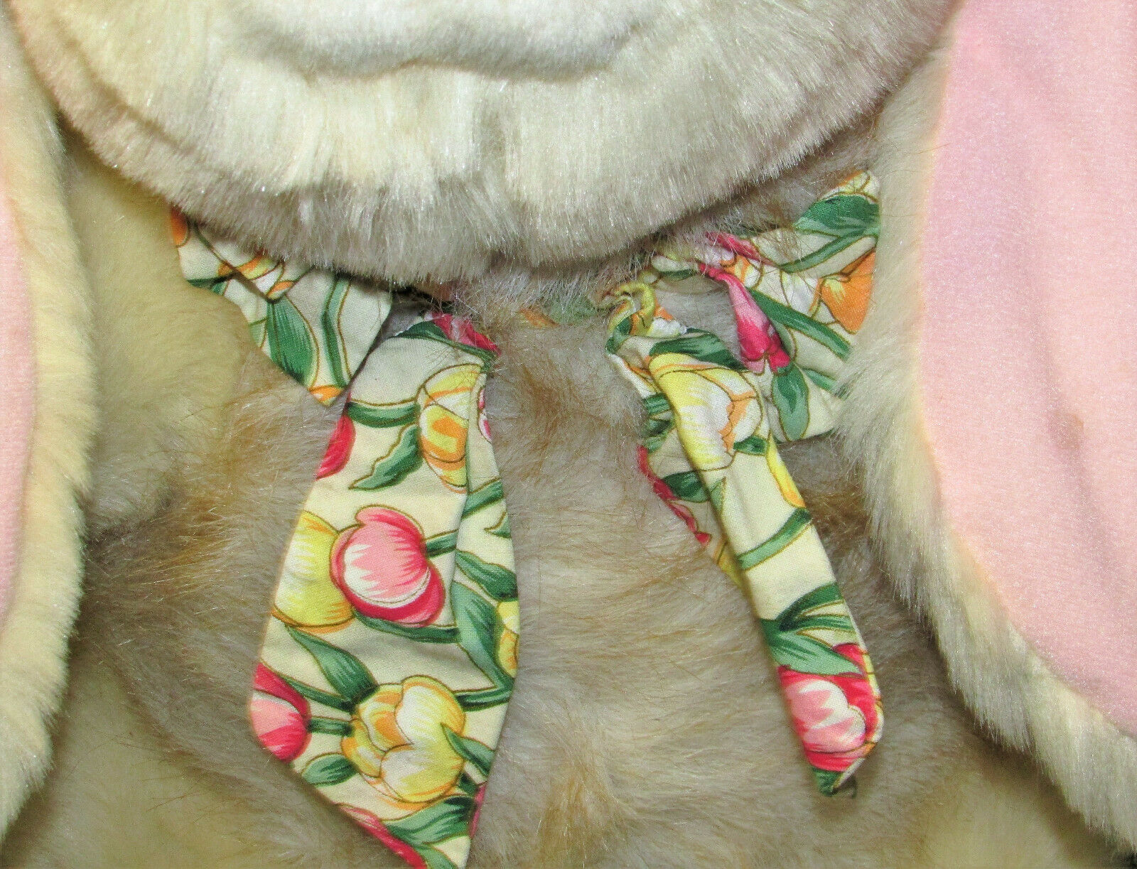 "17"" Vintage Commonwealth EASTER BUNNY Plush Stuffed Rabbit Large Tan Tulip Bow"