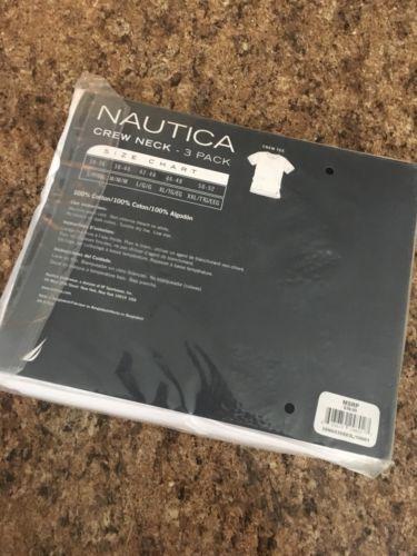NAUTICA White  Crew neck Mens Large Undershirt T-shirt, 3 Pack