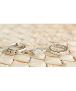 Diamond Trio Set His & Her Matching Engagement Ring 14K White Gold FN 92... - $120.00