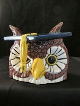 Owls - Graduating Owl Candy Dish Cap Is Lid Handmade Vintage Blue - $22.28