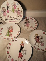 (4)  PARTY GIRL DESSERT PLATES--CHRISTMAS--HAPPY HOLIDAYS--FREE SHIP--NEW - $35.28