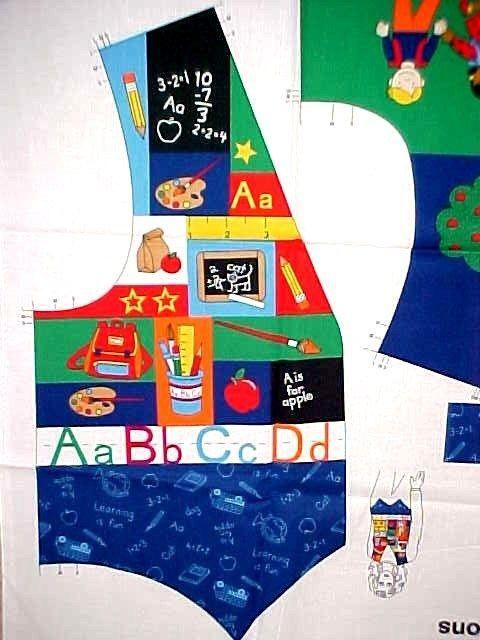 Teacher School Vest Fabric Panel Cotton Fabric Traditions Cut & Sew ADULT S-L