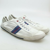 BEN SHERMAN Mens Size 11 White Blue Athletic Stripe Canvas Lace-up Sneakers - $34.64
