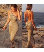 One Shoulder Backless Maxi Long Dress - $36.00