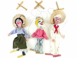 3 Vintage Marionette Puppets Mexican Lady Clown... - $35.00