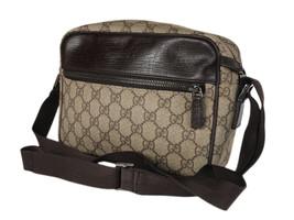 GUCCI GG Web PVC Canvas Leather Browns Crossbody Shoulder Bag GS2580 - $389.00