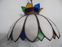 Vintage Ceiling Stained Glass Light Fixture Swag Green White Red  Flower... - $84.15