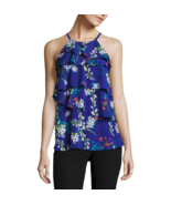 Worthington Sleeveless Tiered Ruffle Tank Top Size PM New Violet Floral - $19.99
