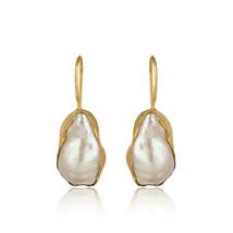 Unshape Pearl Gemstone Drop Earrings 925 Silver Gold Plated Designer Jew... - $33.49
