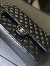 SALE* AUTHENTIC Chanel Quilted Lambskin Classic Medium Black Double Flap Bag SHW image 8
