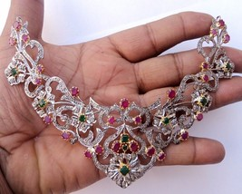 Wedding 4.20Ct Rose Cut Diamond Sterling Silver Emerald Statement Neckla... - $999.00