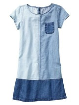 NWT $37 GAP Kids Girls Colorblock Denim Shift Dress w/ Pockets Blue XS 4 5 - $17.81