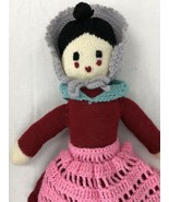 "Hand Knitted Crocheted Doll Stuffed Toy Vintage 22"" Tall Plush Dress Kni... - $59.39"