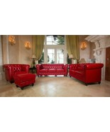 Classic Chesterfield Red Micro Leather Sofa, Loveseat, Chair 3pc Seating... - $2,356.23