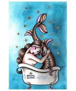 Bath Mermaid - Fine Art Print - Tattoo Artist Custom Lithograph Susana A... - $20.95+
