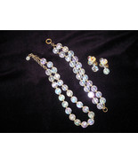 Vintage Aurora Borealis Faceted Crystal Bead Necklace, Bracelet & Clip E... - $75.00
