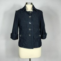 WHBM 8  cropped denim jacket with epaulets career professional casual Fr... - $23.76