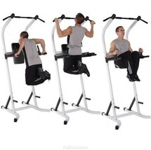Free Standing Pull Up Bar Power Tower Exercise Equipment Stand Push Knee... - $179.97