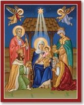 "Glory to the Newborn King Icon - 4.5"" x 6"" print With Lumina Gold - $21.95"