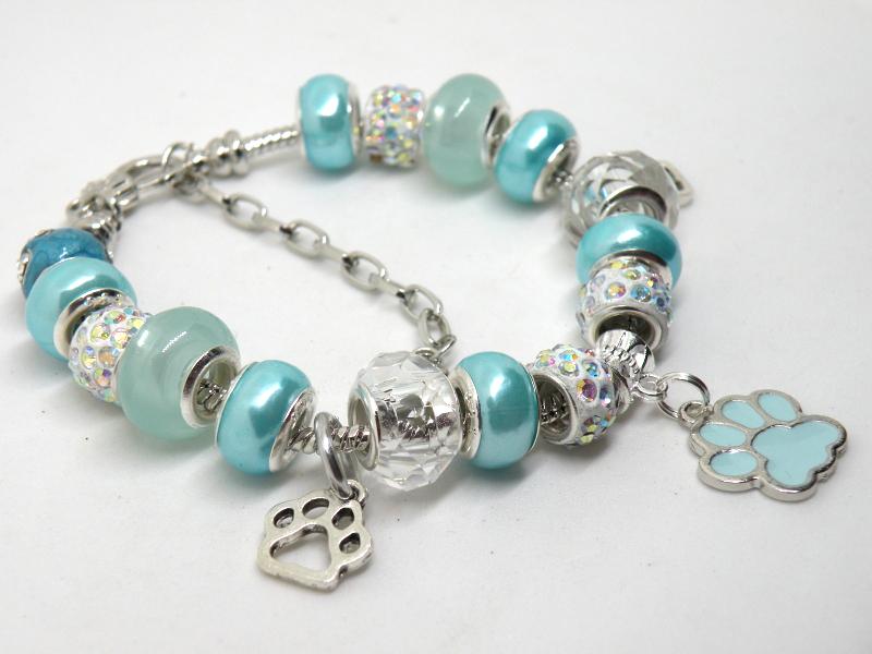 Aqua Blue Pet European Murano Beaded Bracelet. Gift bag included