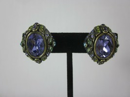 Heidi Daus Demi Parure Crystal Clip-On Earrings Purple Stone - $53.45