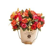 PANDA SUPERSTORE Fashion Simulation Plant Artificial Orange Rose Decorative Pott
