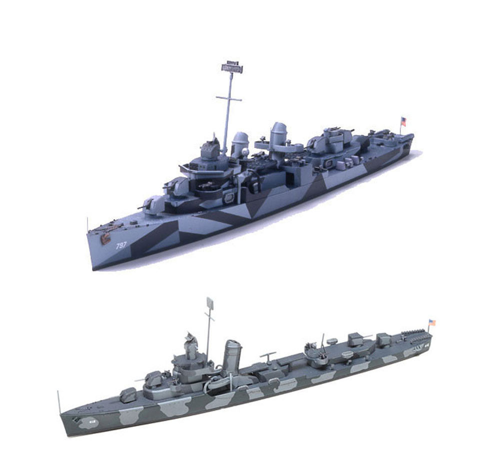 Primary image for 2 Tamiya Ship Models of US Navy Destroyers - DD-797 Cushing and DD412 Hammann