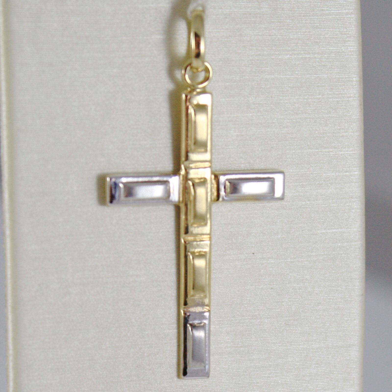 CROSS PENDANT YELLOW GOLD WHITE 750 18K, RECTANGLES, SATIN, MADE IN ITALY