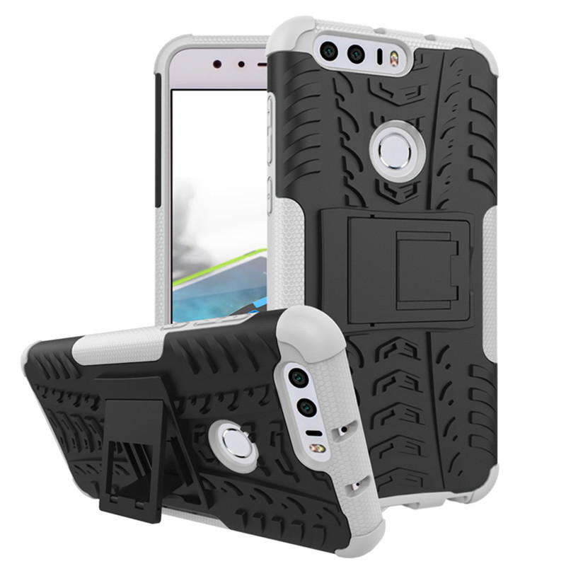 Ed armor shockproof hybrid kickstand protective case for huawei honor 8 white p20160826140459359