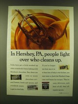 1990 Hershey's Chocolate Ad - In Hershey, PA, people fight over who cleans up - $14.99