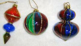 Set of 3 Gorgeous Glass Christmas Ornaments - Orig Box - $18.00