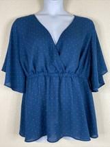 Torrid Womens Plus Size 2 (2X) Blue Polka Dot Wrap Style Blouse Short Sl... - $23.40