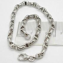 White Gold Bracelet 18k 750 Knitted Stud Made in Italy 19 cm long - $298.80