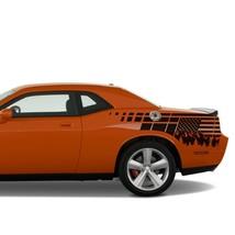 Decal For Dodge Challenger Back US Flag Side Design Vinyl Graphic Sticker - $71.25