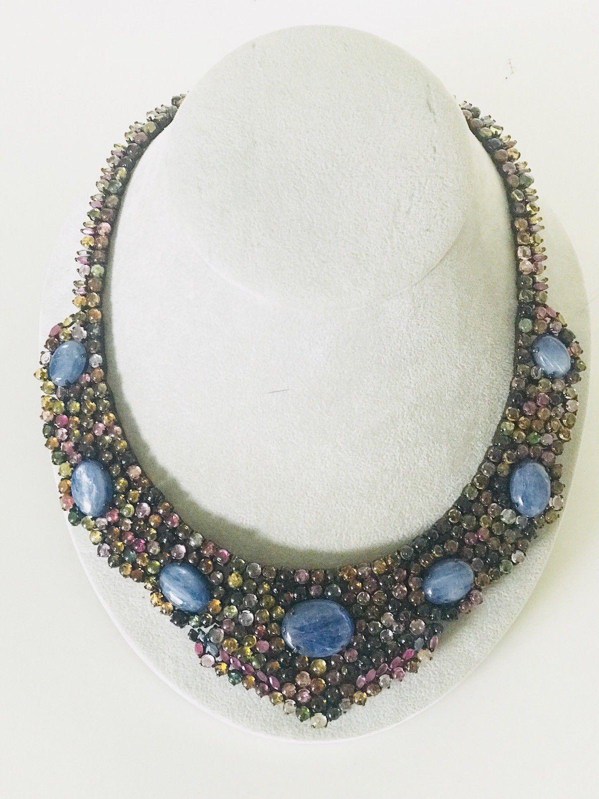 Huge Custom 569 ct Natural Blue Kyanite Tourmaline 925 Sterling Silver Necklace