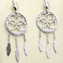 18K WHITE GOLD DREAMCATCHER PENDANT EARRINGS, FEATHER, MADE IN ITALY, 32 MM image 2