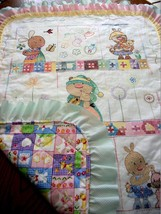 "Hand Quilted XStitched ""SNUGGLE BUNNY COLOR FUN""  Baby Quilt Crib Blanket  - $159.99"