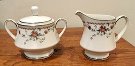 Noritake Ivory Adagio Porcelain Creamer & Sugar Bowl with Lid Set Japan - $41.71