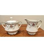 Noritake Ivory Adagio Porcelain Creamer & Sugar Bowl with Lid Set Japan - $41.71